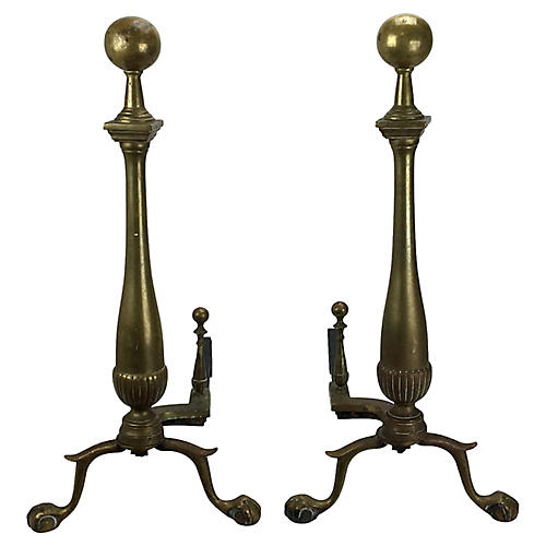 Colonial Clawfoot Brass Andirons, S/2
