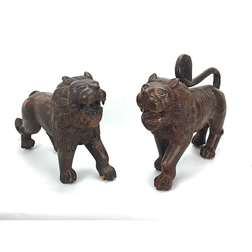 Southeast Asian Carved Wood Lions, S/2