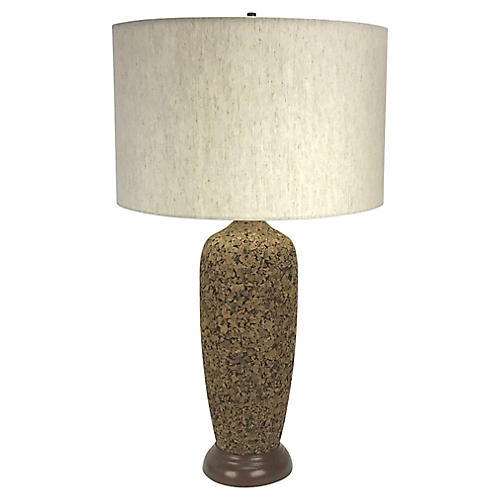 Mid-Century Modern Cork Table Lamp