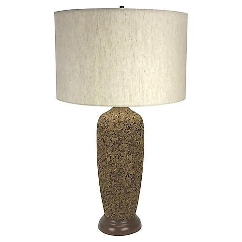 Mid-Century Modern Cork Table Lamp
