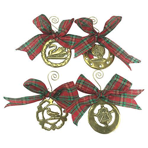 English Horse Brass Bird Ornaments, S/4