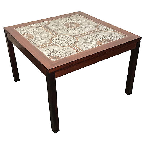 Bohemian Tile & Walnut Side Table