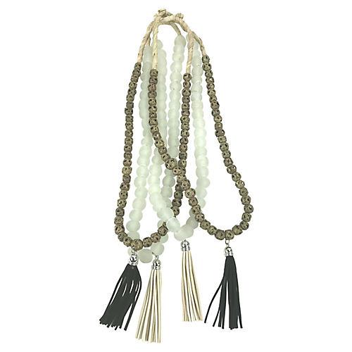Sea Glass & African Brass Beads, S/4
