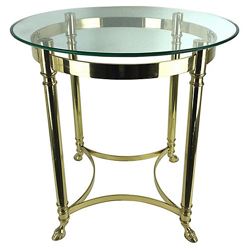 Brass Hoof-Footed Side Table