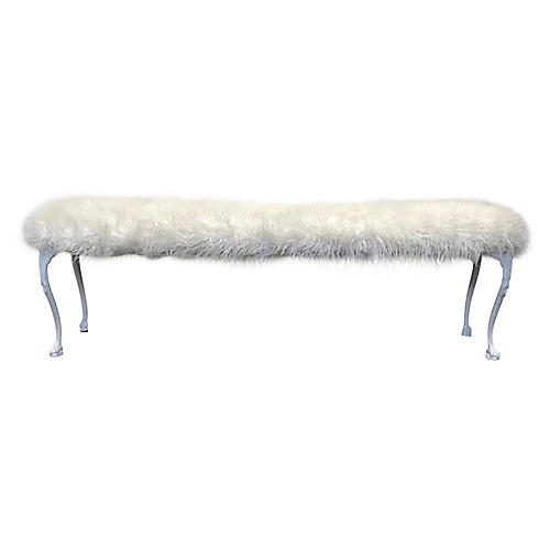 Cast-Iron Bench w/ Tibetan Lamb Textile