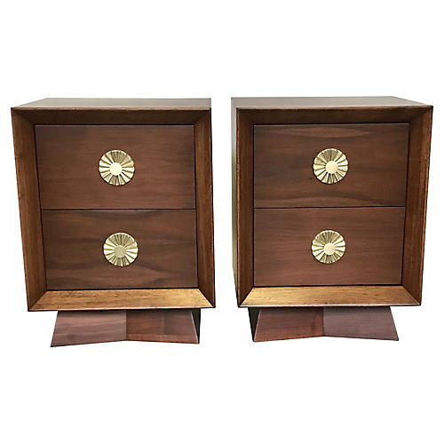 Mid-Century Modern Walnut Nightstands