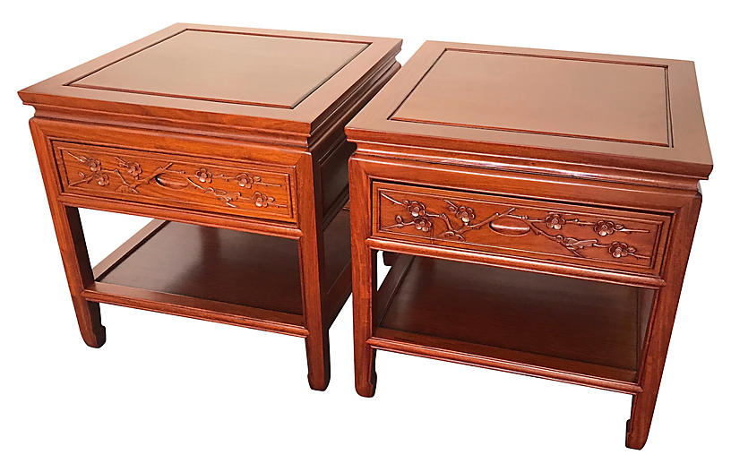 Chinese Rosewood Hand-Carved Nightstands