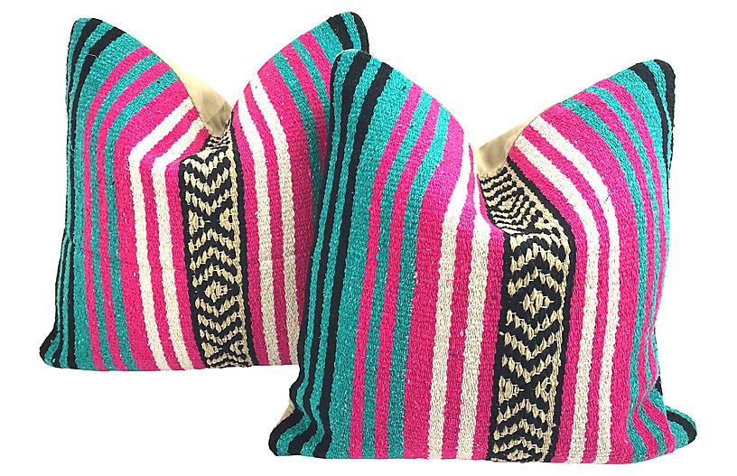 Mexican Serape Throw Pillows, Pair