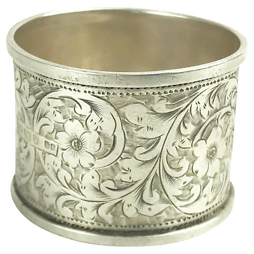 1904 Sterling Silver Floral Napkin Ring