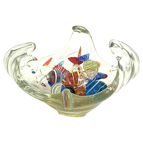 Murano Glass Bowl & Candies, 11 Pcs