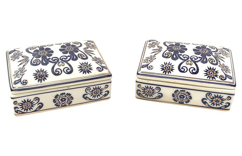Porcelain White/Cobalt Trinket Boxes, Pr
