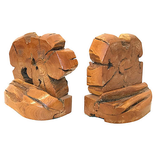1970s Bohemian Organic Wood Bookends