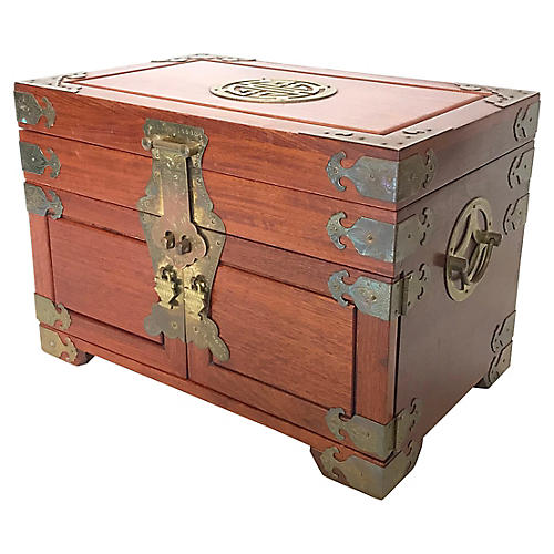 Chinese Rosewood & Brass Jewelry Chest
