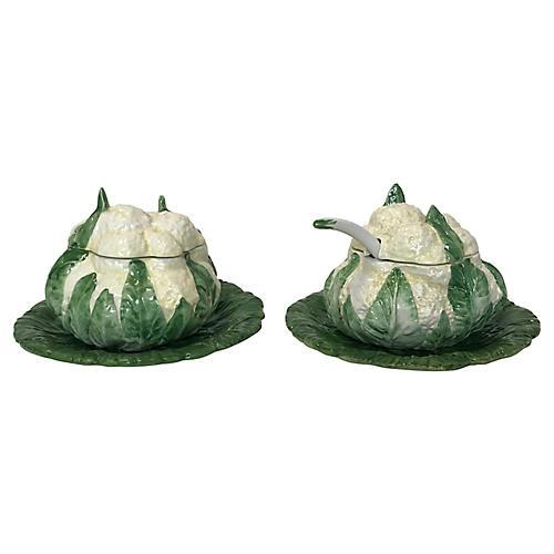 Italian Majolica Cauliflower Serveware
