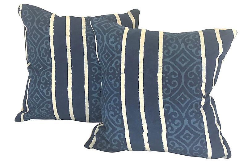 Hand-Printed Shobori Throw Pillows, Pair