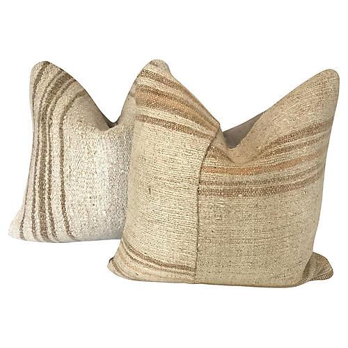 Turkish Kilim Throw Pillows, Pair