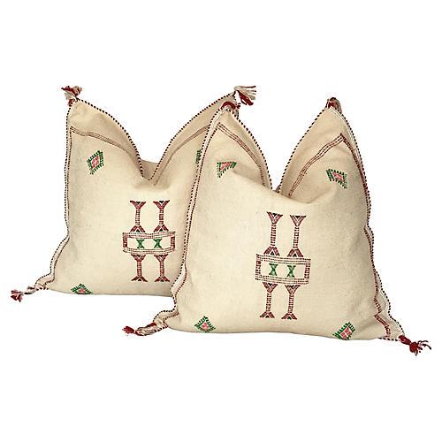 Moroccan Sabra Silk Throw Pillows, Pair