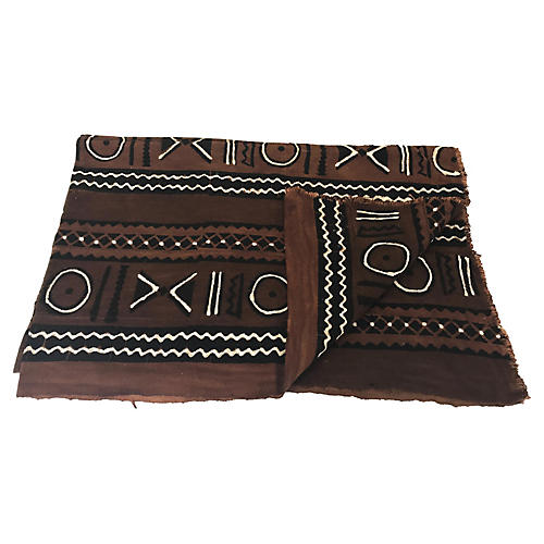African Brown & Black Mudcloth Throw