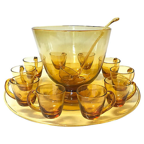 Amber Glass Punch Bowl & Glassware, S/13