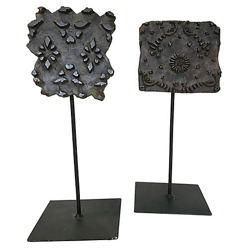 Textile Print Blocks on Stand, S/2