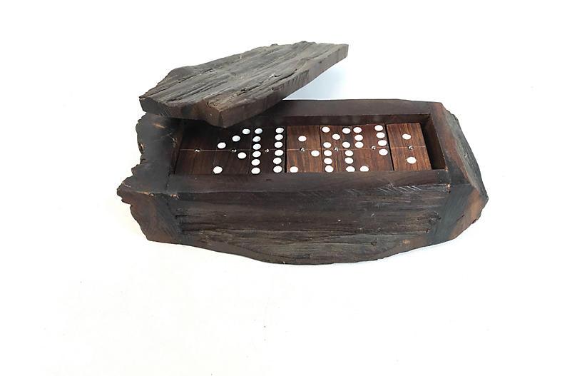Hand-Made Dominos & Live Edge Wood Box