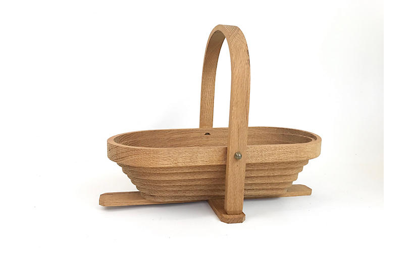 Hand-Made Oak Collapsible Basket