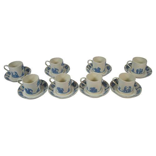 Wedgwood Queensware Cups & Saucers, S/8