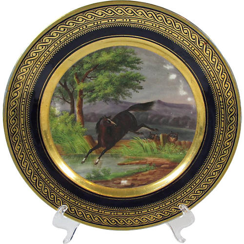 French Hand-Painted Horse Cabinet Plate