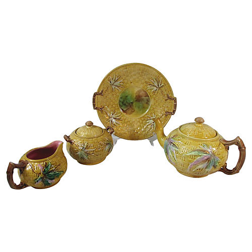 Majolica Basket & Bamboo Tea Set, S/4