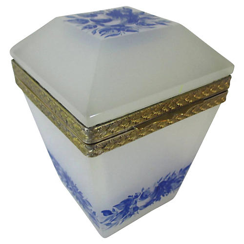 French Opaline & Blue Enamel Glass Box