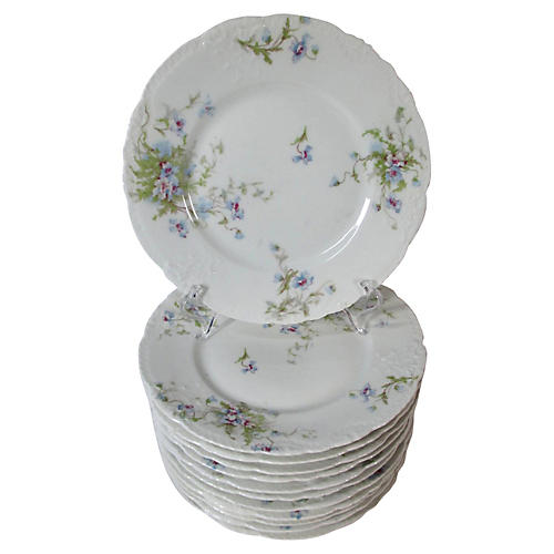 Limoges Floral Lunch Plates, S/12