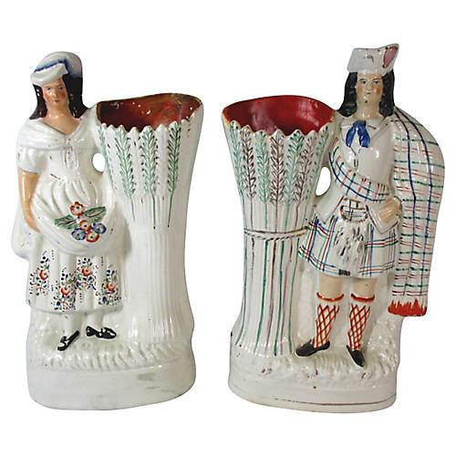 Staffordshire Highlander Vases, Pair