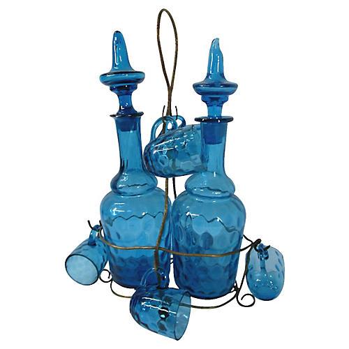 Handblown Art Glass Liqueur Set, 9-Pcs