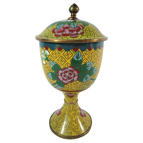 Antique Chinese Cloisonne Lidded Cup
