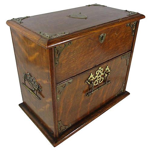 English Oak Jewel Box w/ Key