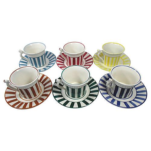 Bonwit Teller Cups & Saucers, S/6