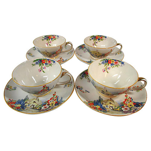 8-Pc Old England Gardens Cups & Saucers