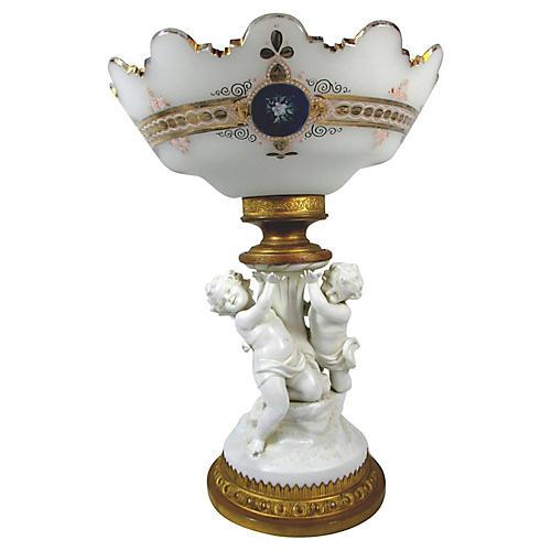 French Porcelain & Glass Cherub Compote
