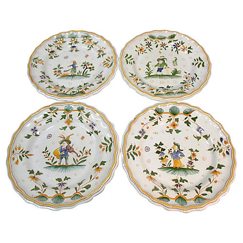 French Faience Grotesque Plates S/4
