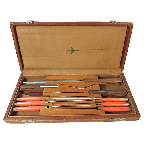 French Bakelite Carving Set, 9 Pcs