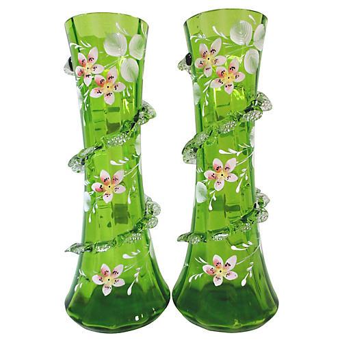 Antique Art Glass Floral Vases, S/2