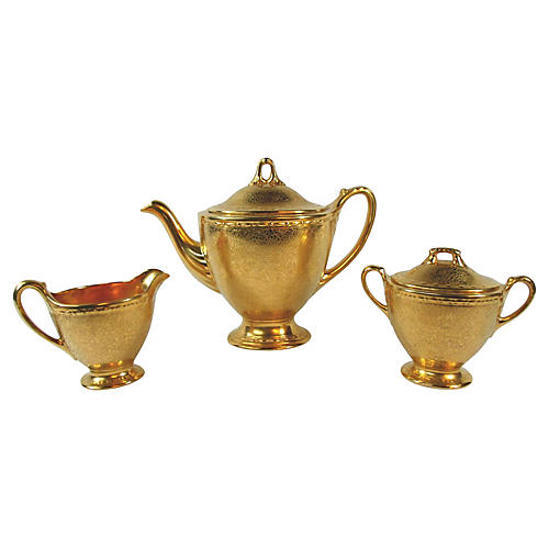Embossed Gold Porcelain Tea Set, S/3