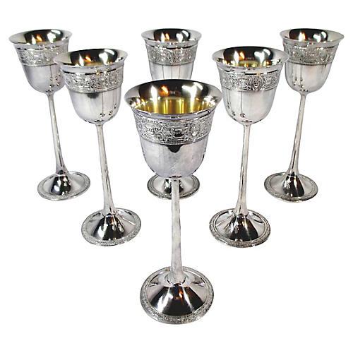 Art Nouveau Silver-Plate Goblets, S/6