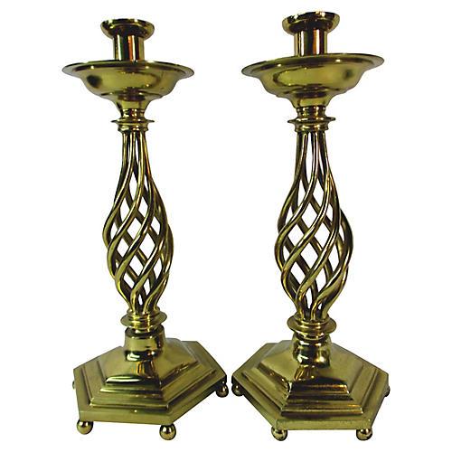 Twisted Brass Candlesticks, Pair