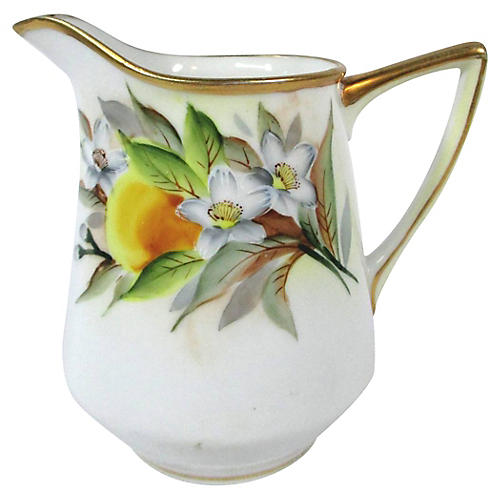 Hand-painted Oranges & Blossoms Pitcher