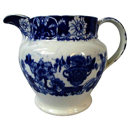 Staffordshire Flow Blue Beverage Pitcher