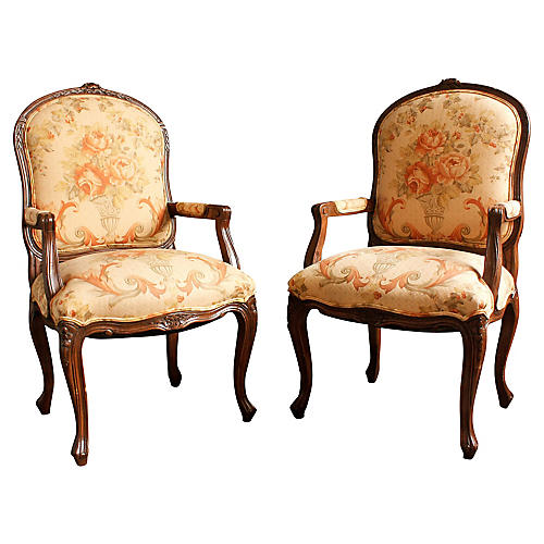Pair of Louis XVI-Style Bergeres
