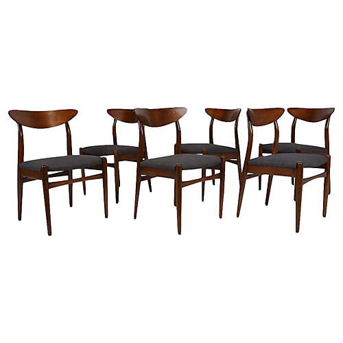 Midcentury Modern Dining Chairs, S/6