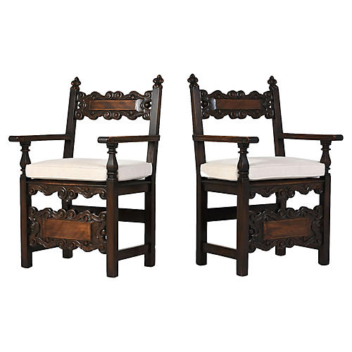Spanish-Style Oak Wood Armchairs, Pr.
