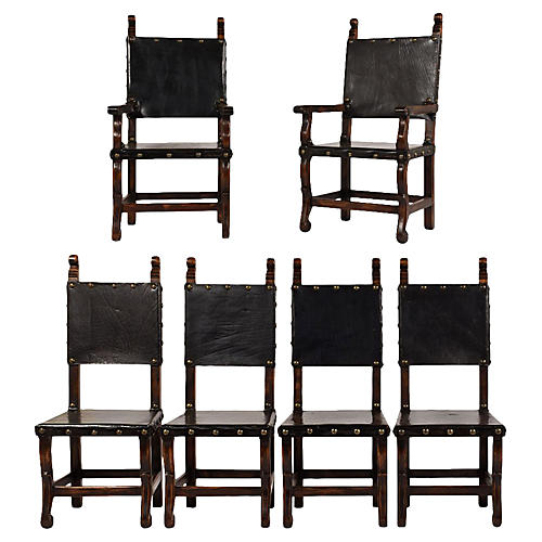 Set of 6 Spanish Colonial Dining Chairs